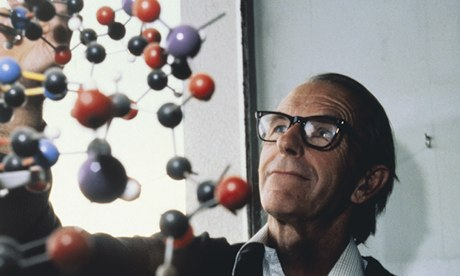 Frederick Sanger and a DNA model.
